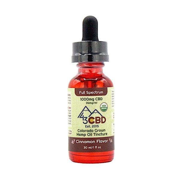 43 CBD USDA Certified Organic Hemp Oil Cinnamon 1000mg