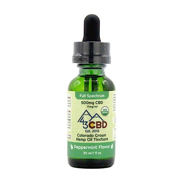 43 CBD USDA Certified Organic Hemp Oil Peppermint 500mg