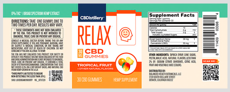 cbdistillery relax cbd gummies label